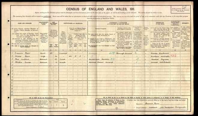 1911 England Census - Francis Parr