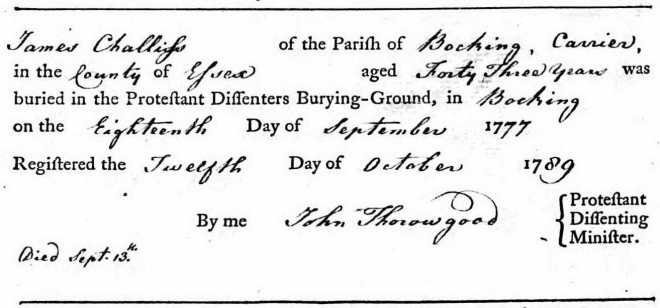 Challis James Death Registration 1789
