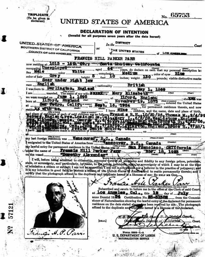 Parr Francis HIll Parker USA Citizenship