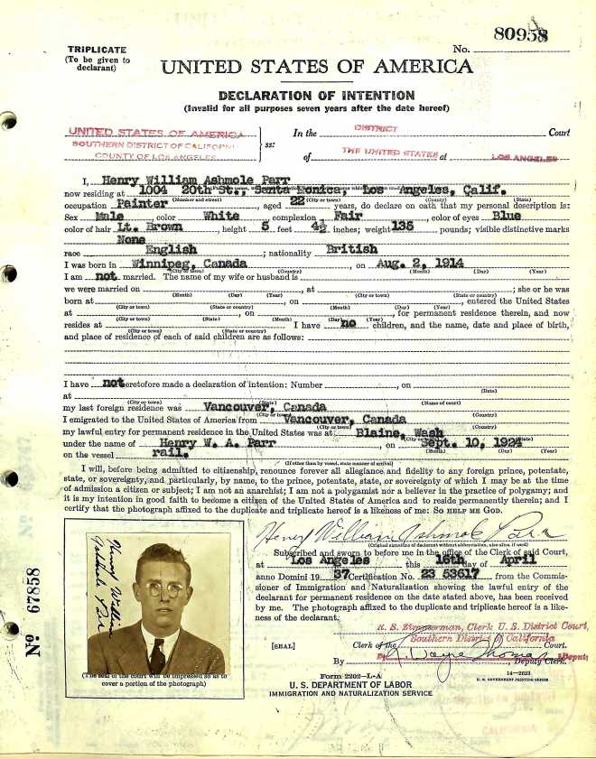 Parr Henry William Ashmole 1937 US Naturalization